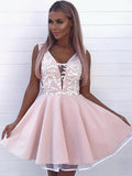 A-Line V-Neck Sleeveless Pink Homecoming Dresses With Lace,FPBD050