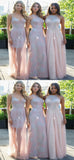 Beautiful Mismatched Pink Long Bridesmaid Dresses With Appliques,FPWG075