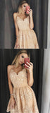 A-Line Spaghetti Straps Appliqued Homecoming Dresses With Beading,FPBD048
