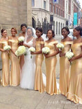 Sexy Mermaid Off The Shoulder Gold Cheap Long Bridesmaid Dresses,FPWG318