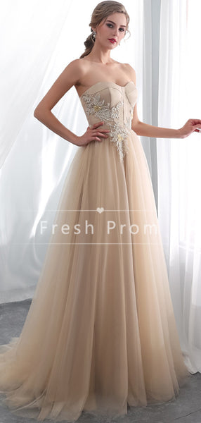 A-Line Sweetheart Tulle Cheap Long Prom Dresses With Lace,FPPD334