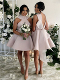 A-Line High Neck Blush Pink Satin Short Bridesmaid Dresses,FPWG043