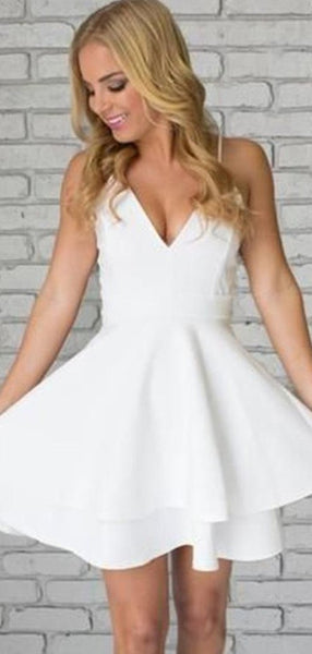 A-Line V-Neck Spaghetti Straps White Homecoming Dresses With Lace,FPBD063