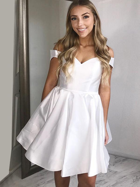 A-Line Off Shoulder White Homecoming Dresses With Lace Up Back,FPBD059