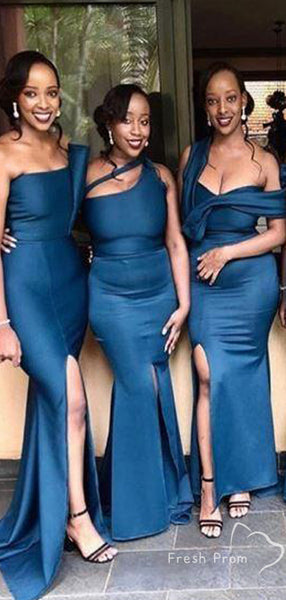 Simple Mermaid Mismatched Cheap Long Bridesmaid Dresses With Slit,FPWG332