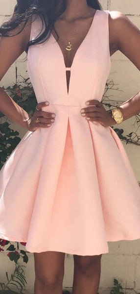 A-Line Deep V-Neck Sleeveless Pearl Pink Homecoming Dresses With V-Back,FPBD066