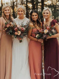 A-Line V-Neck Spaghetti Straps Cold Shoulder Chiffon Long Bridesmaid Dresses,FPWG334