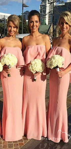 Mermaid Strapless Pink Chiffon Floor Length Bridesmaid Dresses Online,FPWG335
