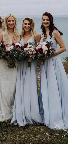A-Line V-Neck Sleeveless Pearl Blue Chiffon Long Bridesmaid Dresses,FPWG336
