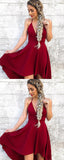 A-Line Deep V-Neck Spaghetti Straps Dark Red Homecoming Dresses,FPBD067