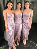 Mermaid V-Neck Spaghetti Straps Tea Length Bridesmaid Dresses With Pleats,FPWG337