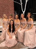 A-Line Off The Shoulder Tulle Long Bridesmaid Dresses With Beading,FPWG338