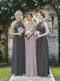 Awesome A-Line Halter Grey Tulle Lace Long Bridesmaid Dresses,FPWG072