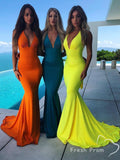 Mermaid Deep V-Neck Spaghetti Straps Colorful Cheap Long Bridesmaid Dresses,FPWG339