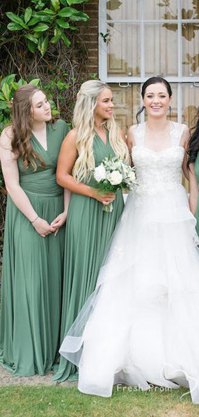 Simple A-Line V-Neck Sleeveless Convertible Cheap Long Bridesmaid Dresses Online,FPWG340