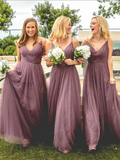 A-Line V-Neck Spaghetti Straps Tulle Long Bridesmaid Dresses,FPWG071