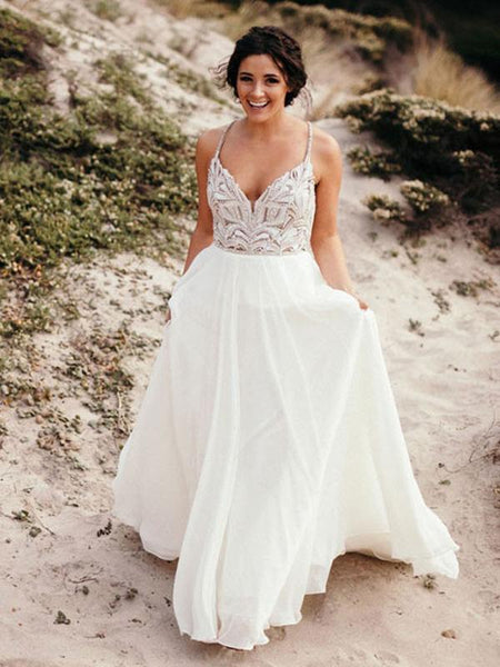 A-Line Spaghetti Straps Chiffon Long Wedding Dresses With Beading,FPWD079