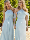 A-Line Mismatched Sleeveless Chiffon Long Bridesmaid Dresses,FPWG047