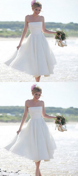 Simple A-Line Strapless Chiffon Tea Length Cheap Wedding Dresses,FPWD084