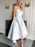 A-Line Spaghetti Straps White Tea Length Homecoming Dresses,FPBD079