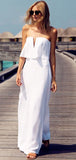Simple Sheath Strapless White Cheap Floor Length Beach Wedding Dresses,FPWD085