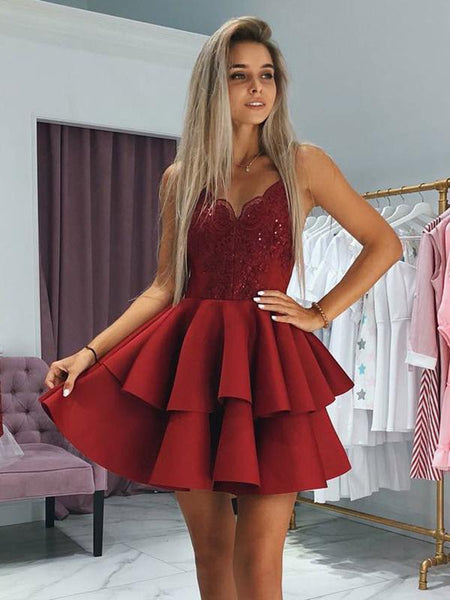 A-Line Sweetheart Spaghetti Straps Red Appliqued Homecoming Dresses With Beading,FPBD089