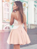 A-Line Spaghetti Straps Sweetheart Homecoming Dresses With Lace,FPBD088
