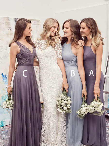 Beautiful Mismatched Tulle Simple Cheap Long Bridesmaid Dresses,FPWG076