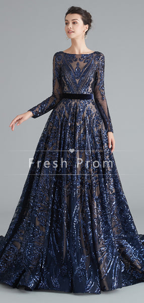 A-Line Round Neck Long Sleeves Cheap Prom Dresses With Beading,FPPD338