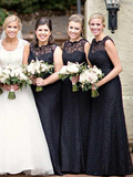 A-Line Round Neck Sleeveless Long Bridesmaid Dresses With Lace,FPWG050