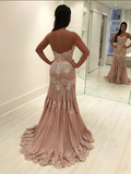 Sweetheart Mermaid Lace Appliqued Long Prom Dresses,FPPD014