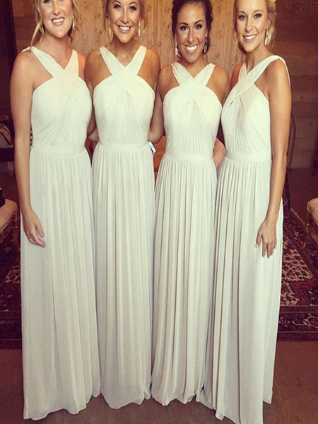 A-Line V-Neck Sleeveless Chiffon Long Bridesmaid Dresses Online,FPWG066