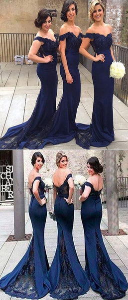 Mermaid Off Shoulder Navy Blue Long Bridesmaid Dresses With Lace,FPWG082