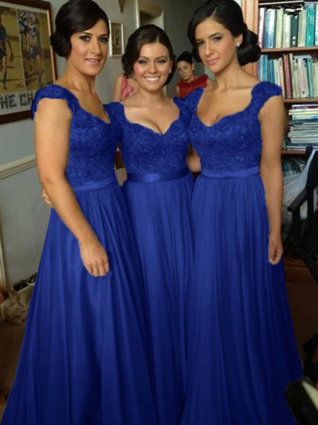 Elegant A-Line Cap Sleeves Royal Blue Long Bridesmaid Dresses With Appliques,FPWG081