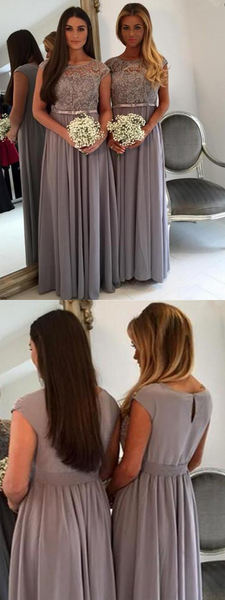 A-Line Scoop Neckline Cap Sleeves Chiffon Long Bridesmaid Dresses With Lace,FPWG052