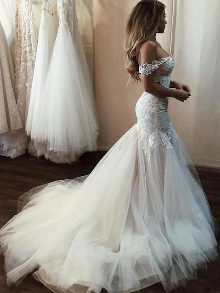 Charming Mermaid Off Shoulder Tulle Long Wedding Dresses With Appliques,FPWD091
