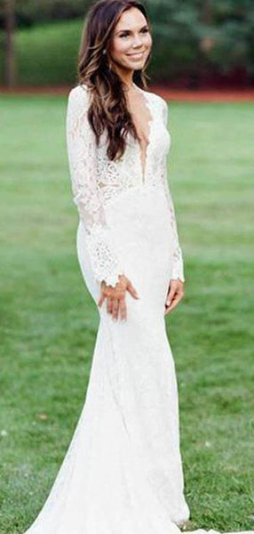 Sexy Mermaid Deep V-Neck Long Sleeves Chiffon Laced Long Wedding Dresses With Open Back,FPWD092
