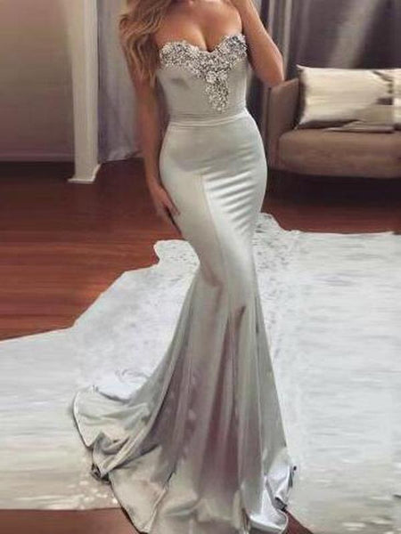 Sexy Mermaid Sweetheart Elastic Satin Floor Length Prom Dresses,FPPD003
