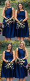 A-Line Round Neck Sleeveless Navy Blue Tea Length Bridesmaid Dresses,FPWG051