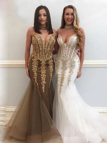 New Mermaid Spaghetti Straps V-Neck Beaded Long Prom Dresses,FPPD048