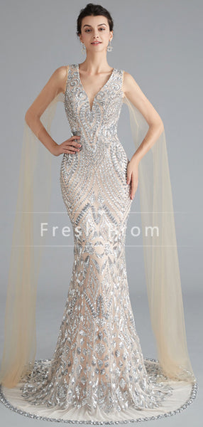 Mermaid V-Neck Sleeveless Tulle Floor Length Prom Dresses With Beading,FPPD340