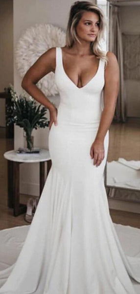 Mermaid Deep V-Neck Two Straps Open Back White Sweep Train Wedding Dresses,FPWD102