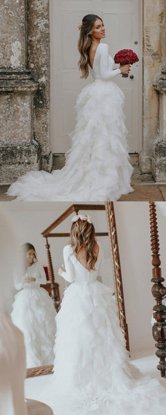 A-Line Round Neck Long Sleeves Sweep Train Custom Wedding Dresses,FPWD098