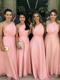 Charming A-Line One Shoulder Pink Long Bridesmaid Dresses Online,FPWG077