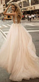 Sexy A-Line Deep V-Neck Sleeveless Tulle Long Wedding Dresses With Appliques,FPWD103