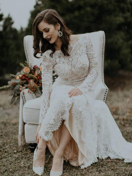 A-Line Round Neck Long Sleeves Long Wedding Dresses With Lace,FPWD097