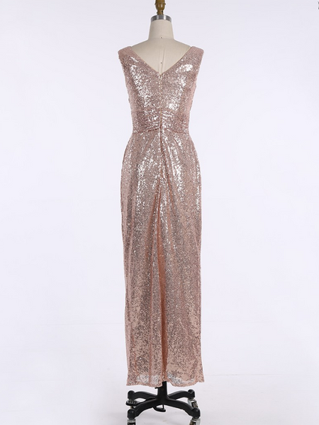 A-Line V-Neck Sleeveless Rose Gold Sequined Long Bridesmaid Dresses,FPWG069