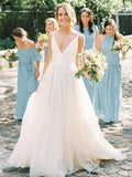 A-Line V-Neck Spaghetti Straps Tulle Long Wedding Dresses,FPWD101
