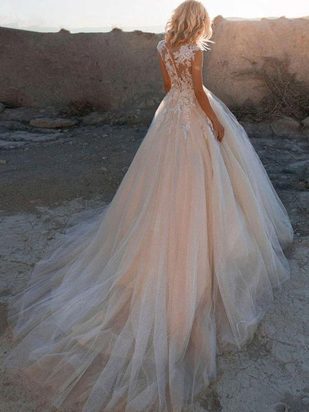 A-Line Round Neck Cap Sleeves Appliqued Tulle Long Wedding Dresses With Pearls,FPWD106