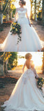 Charming Ball Gown Round Neck Long Sleeves Laced Wedding Dresses With Open Back,FPWD108